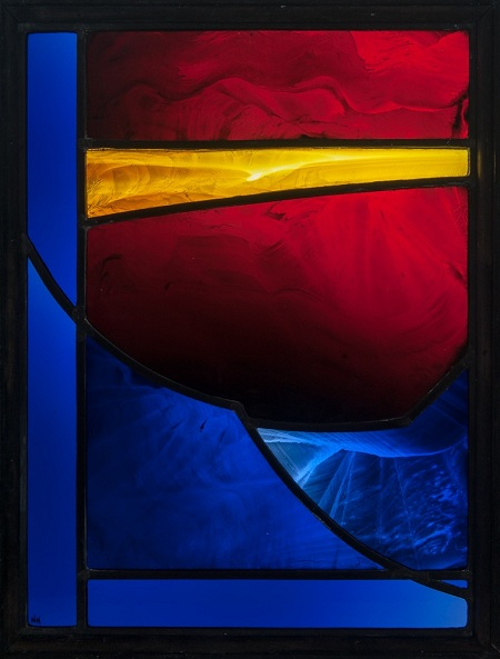 "2.	Nicky Hopwood, 45 X 35, stained glass acid-etched, painted and fired, ""Still small voice."""
