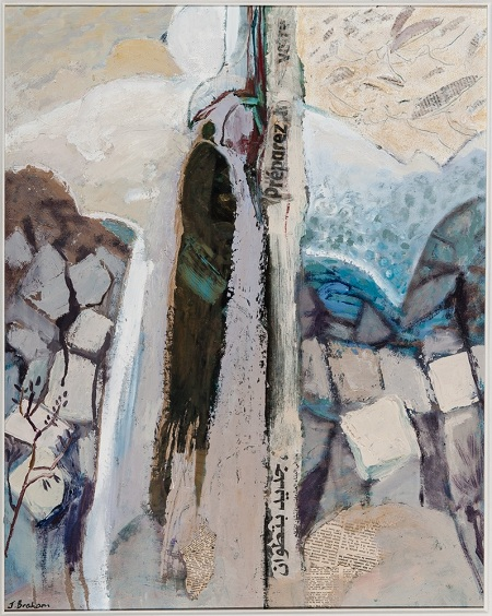 "3.	Julienne Braham, 74 X 58, oil and collage on board, ""A voice crying in the Wilderness."""