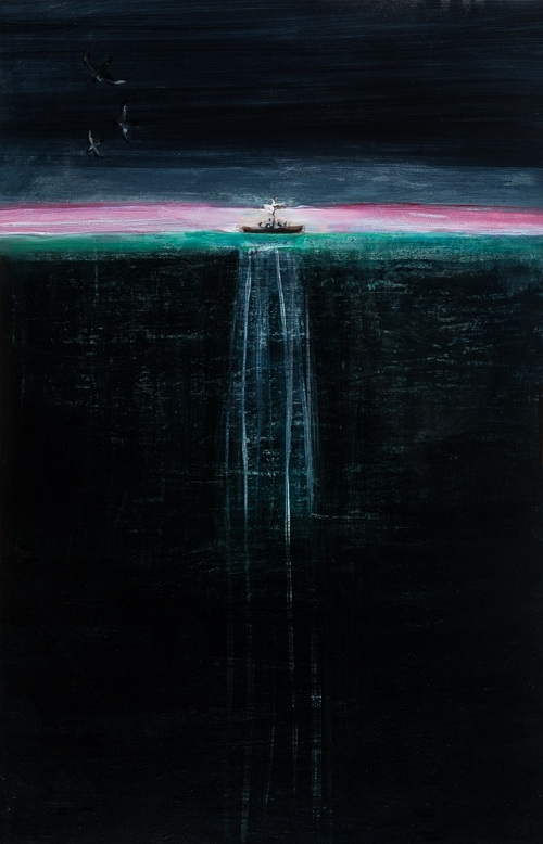 "9.	Lois Hopwood, 106 X 71, acrylic on wood,  ""Dwr dwfn…Deep water."""