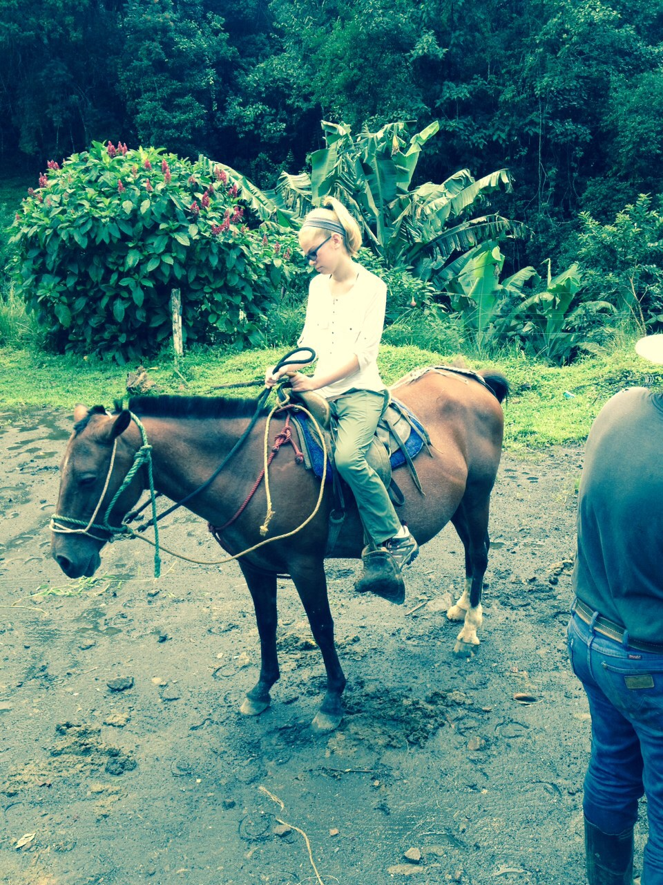 Maeve getting settled on her horse. Everyone looks smaller because I'm taking pictures from my horse.