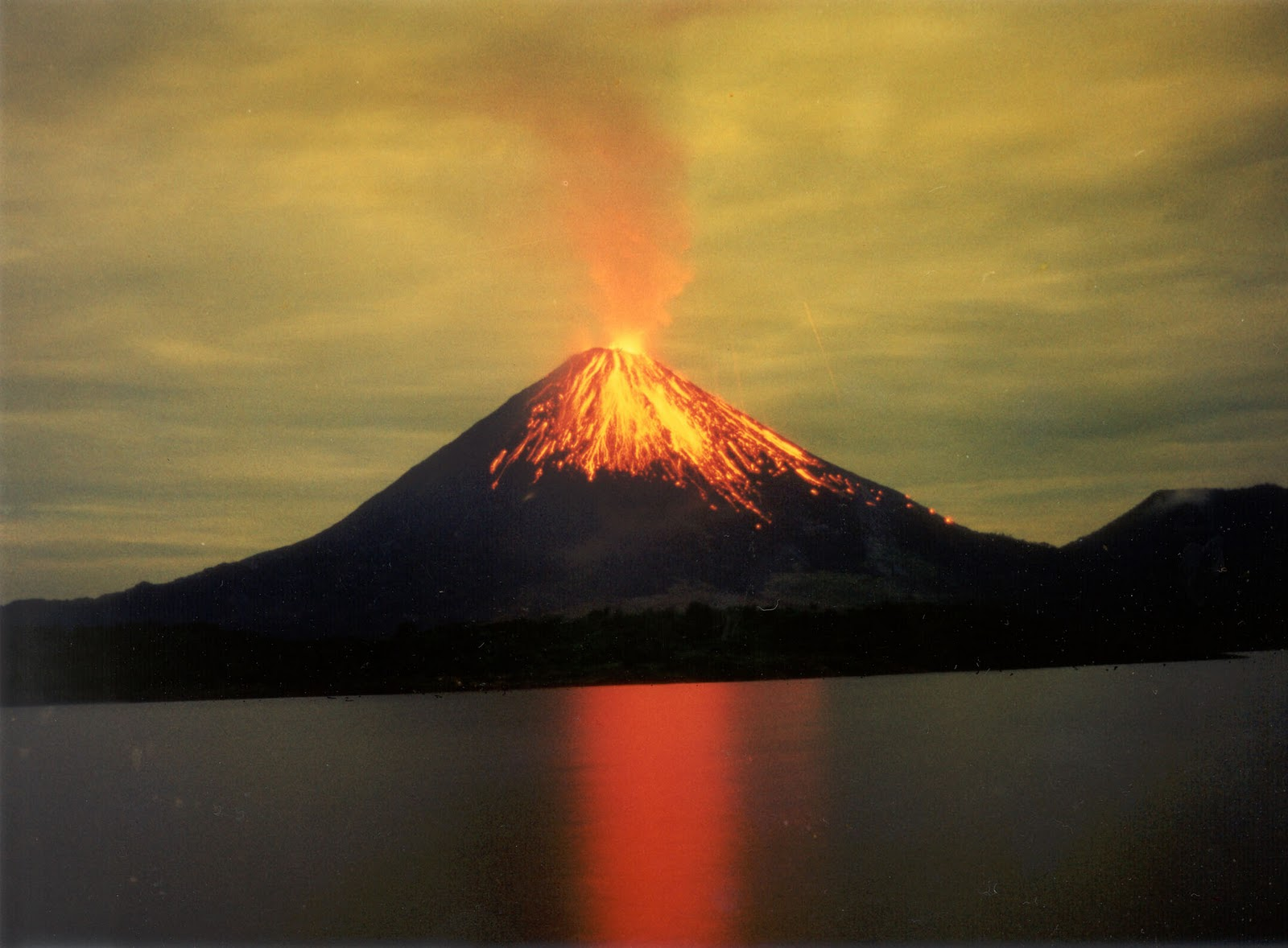 Arenal Volcano during an eruption