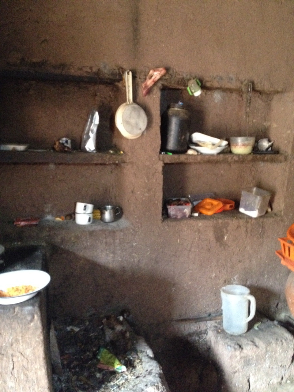 One side of the adobe kitchen.