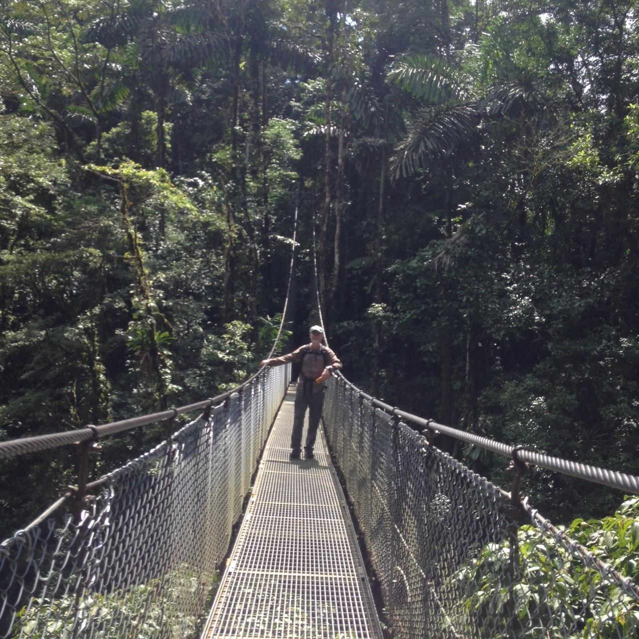 Michael on one of the six suspension bridges