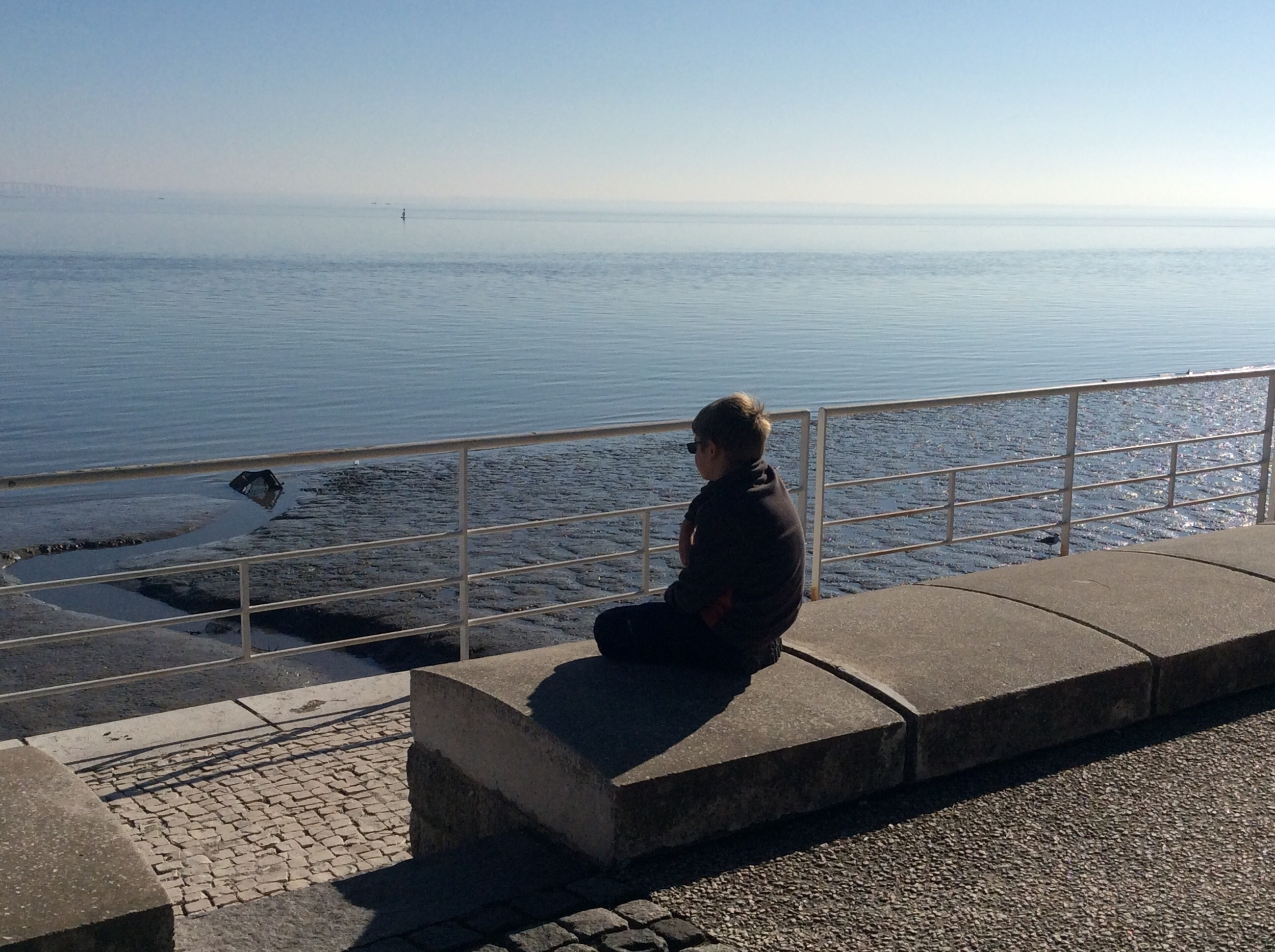 Liam in deep thought overlooking the Tagus River