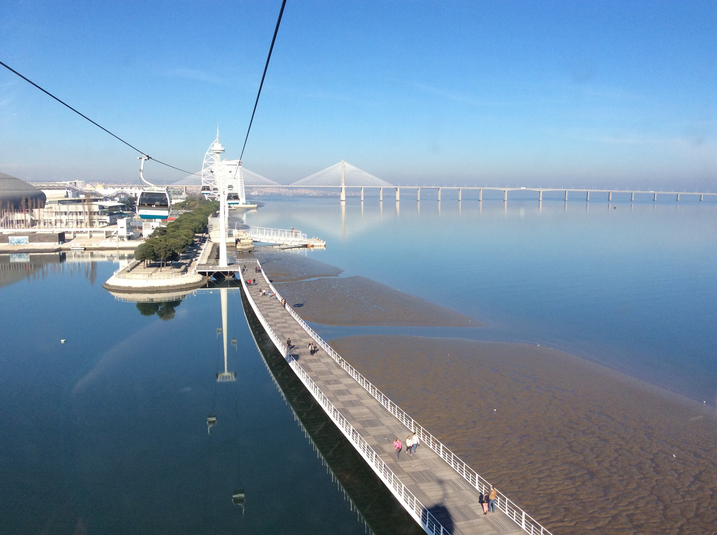 View from the cable car and view of Vasco da Gama Bridge