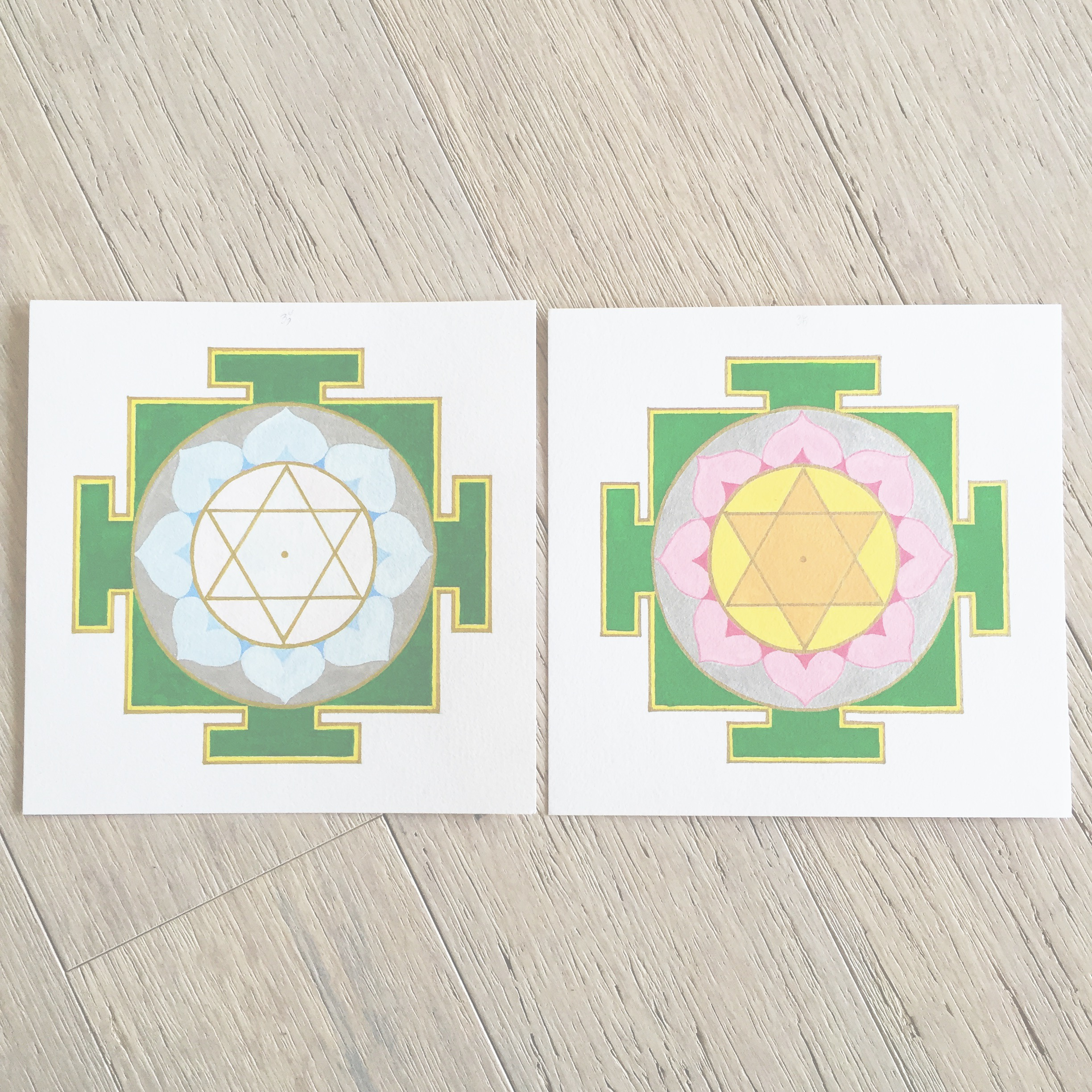 Goddess  yantras  knowledge and prosperity completed.  #saraswati   #lakshmi   #yantra