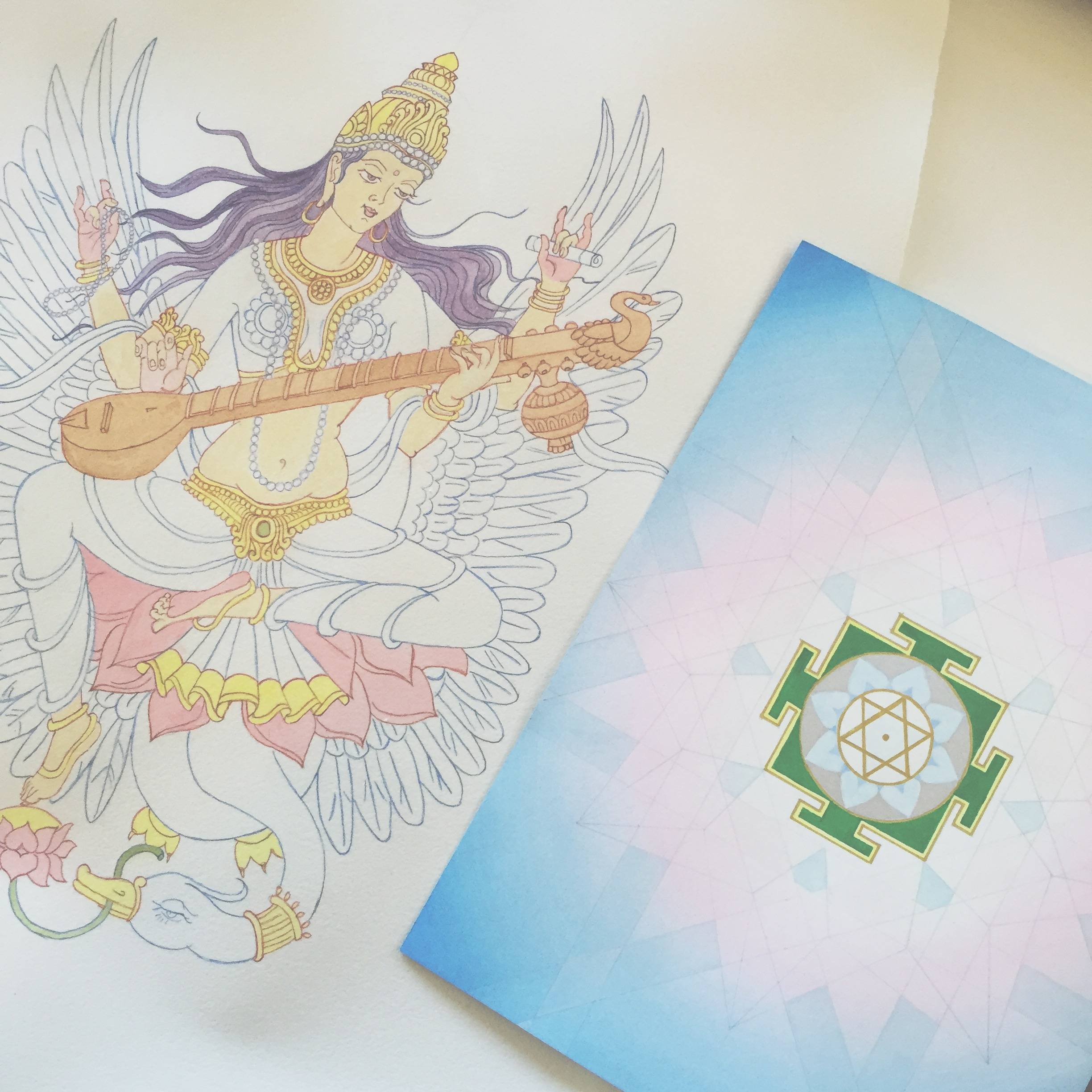 Saraswati and her yantra cultivates beauty knowledge and the arts  #saraswati   #watercolor   #goddess