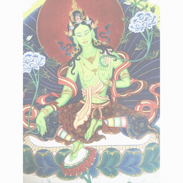 #mantraMonday   Tara  from Carmen Mensink, my tibetan thangka teacher, she grants all wishes and bestows assistance for anyone in need, just ask. Mantra: Om Tare TuTare Ture Soha!  #mantra   #greentara   #thangka   #tibetanart   #tara   #peaceday