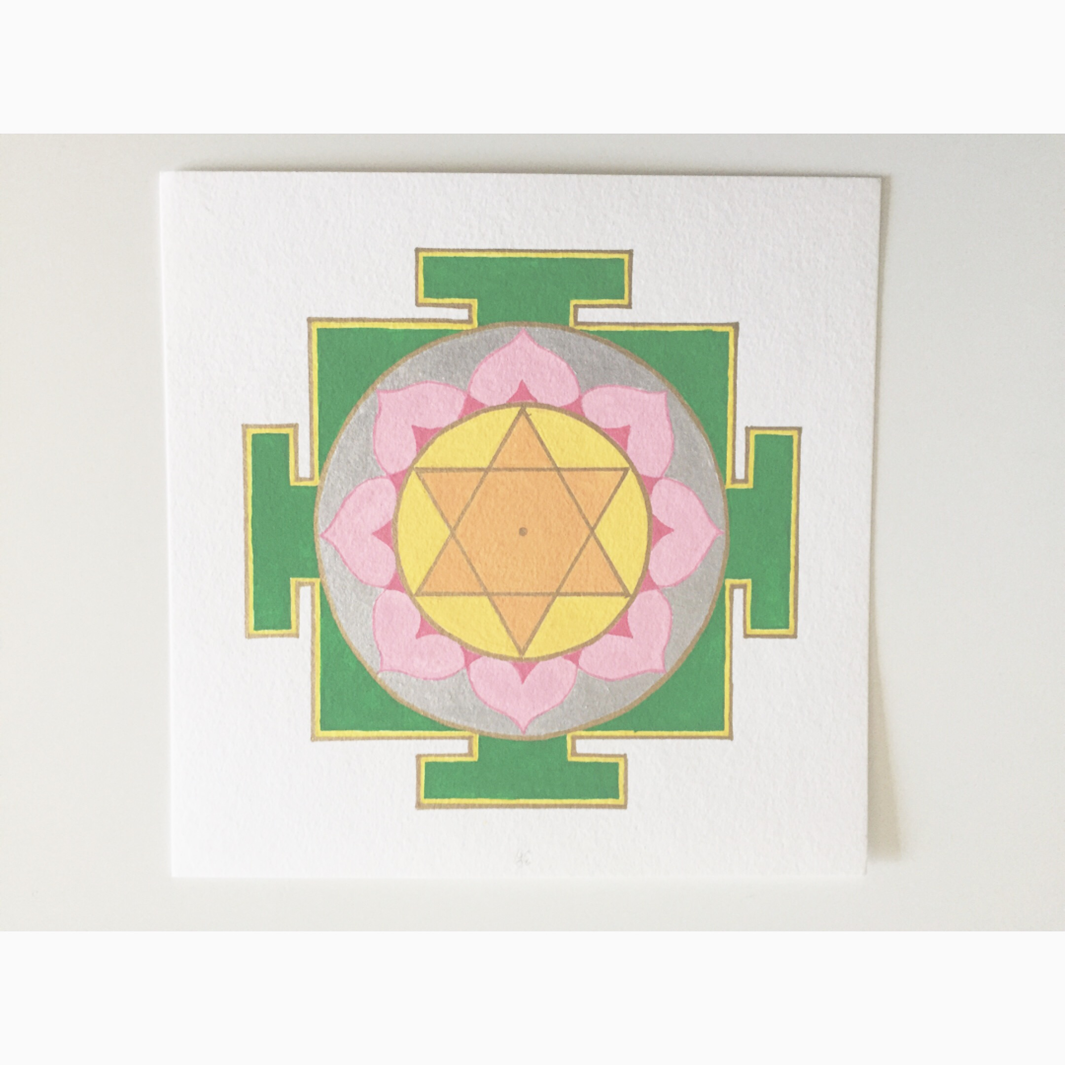happy  #mantraMonday . I've been working on painting the goddess yantras. This one is Lakshmi, goddess of prosperity and wealth. Mantra: om hring laksmaye namaha om.   #mantra   #yantra   #mandala  #lakshmi   #vedic