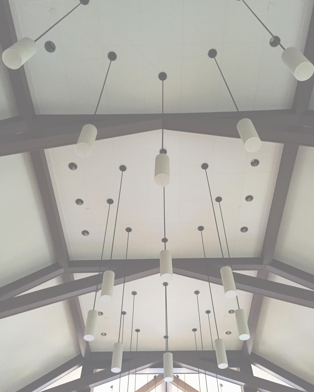 Love this light fixture pattern. Looks random from below but it's not. #interiorlighting