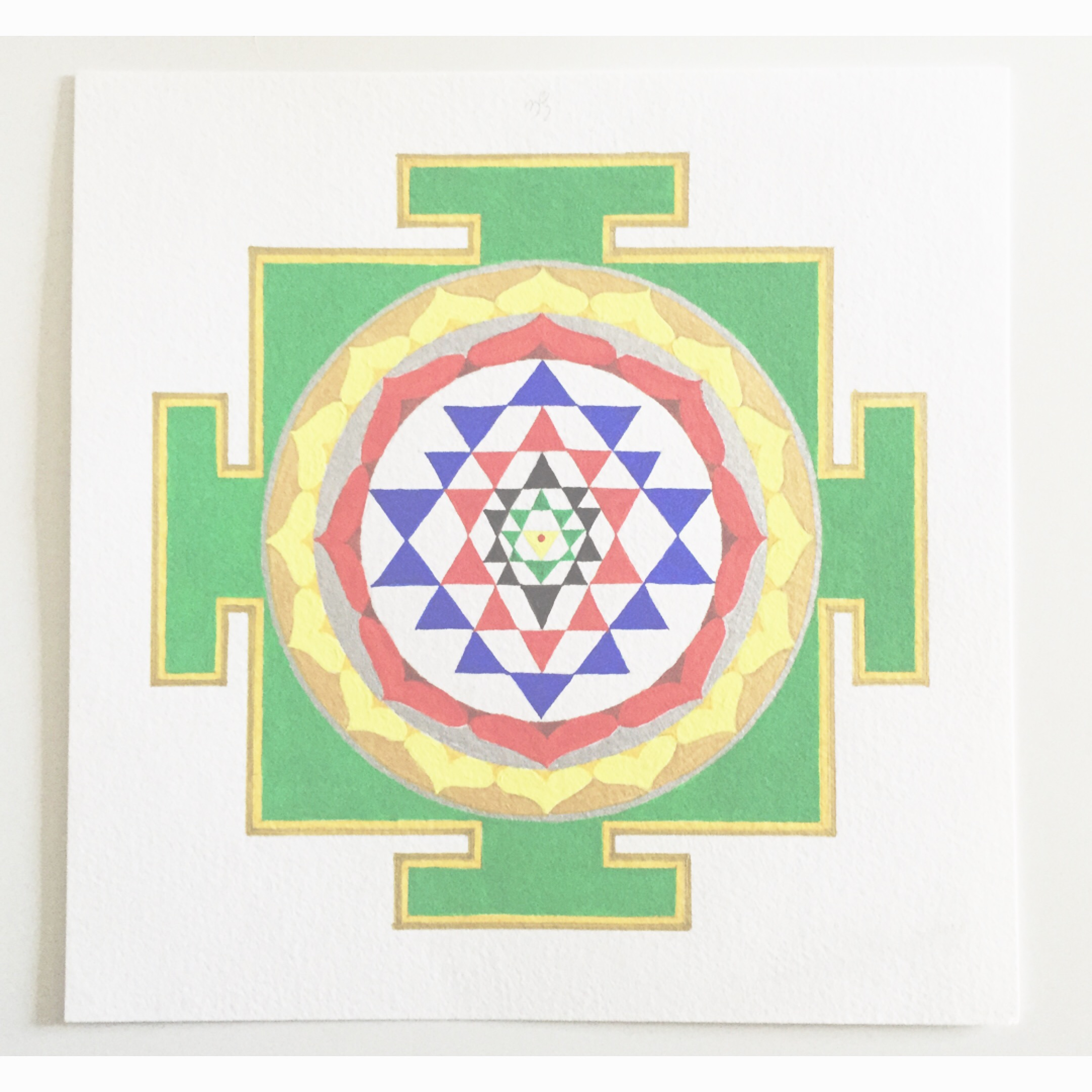 """#MantraMonday !! One of the most complex yantras is the Shri yantra. It represents the cosmos and can break through obstacles in our lives. the upward and downward triangles represent male and female. mantra: """"OM"""" #mantra  #yantra  #mandala  #shriyantra  #vedic"""