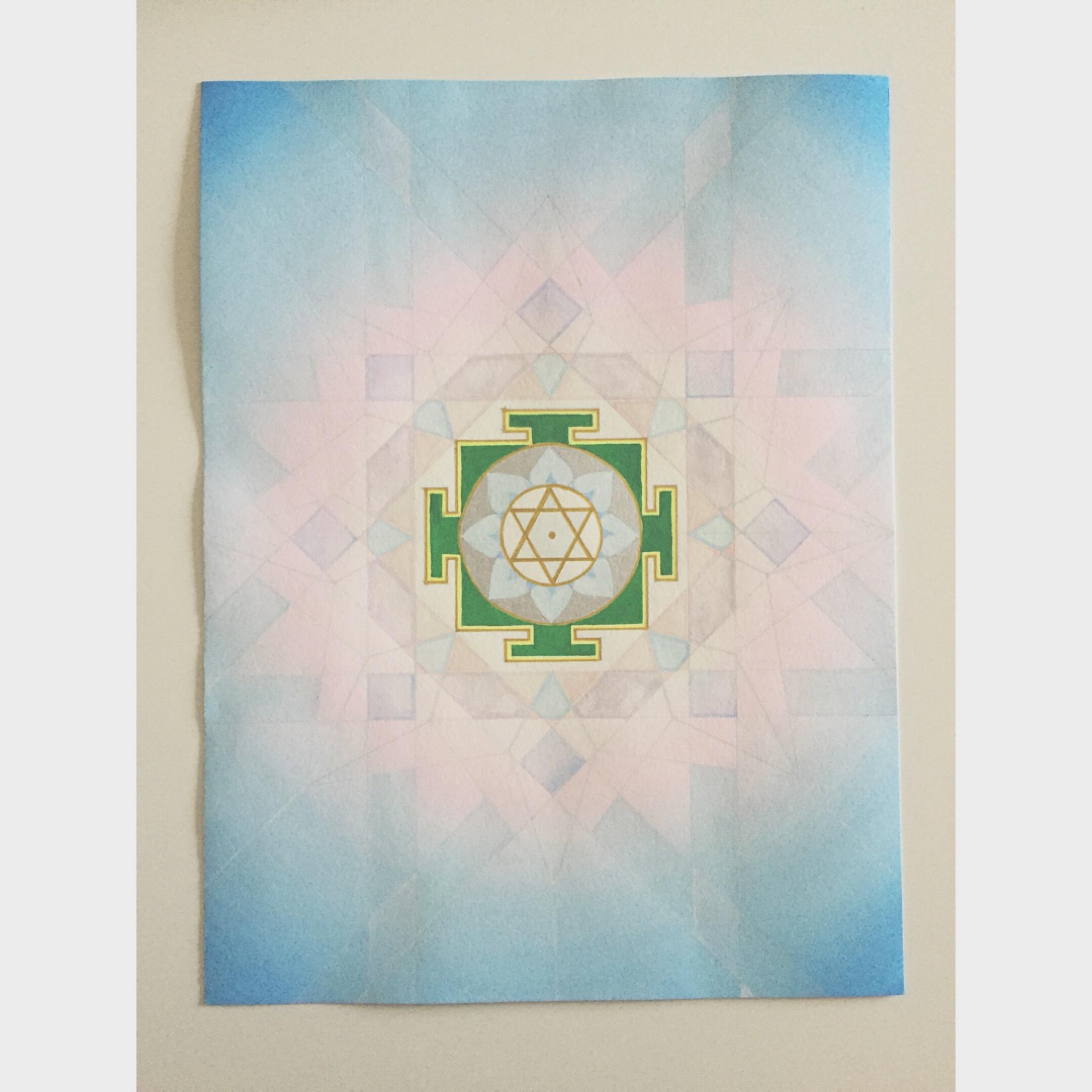 "#mantramonday my latest and favorite  mandala  and yantra,  Saraswati  the goddess of the arts and knowledge. with  #3 vedic square pattern behind for wisdom. the mantra: ""om hring saraswataye namaha om"" #mantra  #yantra  #mandala  #saraswati  #sacredart"
