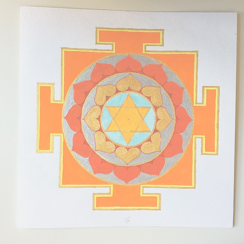 #mantraMonday ! the  sun yantra  today. Sun is a planet that is associated with individuality, radiance, and yang energy. The associated mantra is:  Om Hrim Hrim Suriyaye Namah Om   #mantra   #yantra   #vedicnumbers   #sacredart   #sacredgeometry   #holisticspaces   #thesun   #theplanets