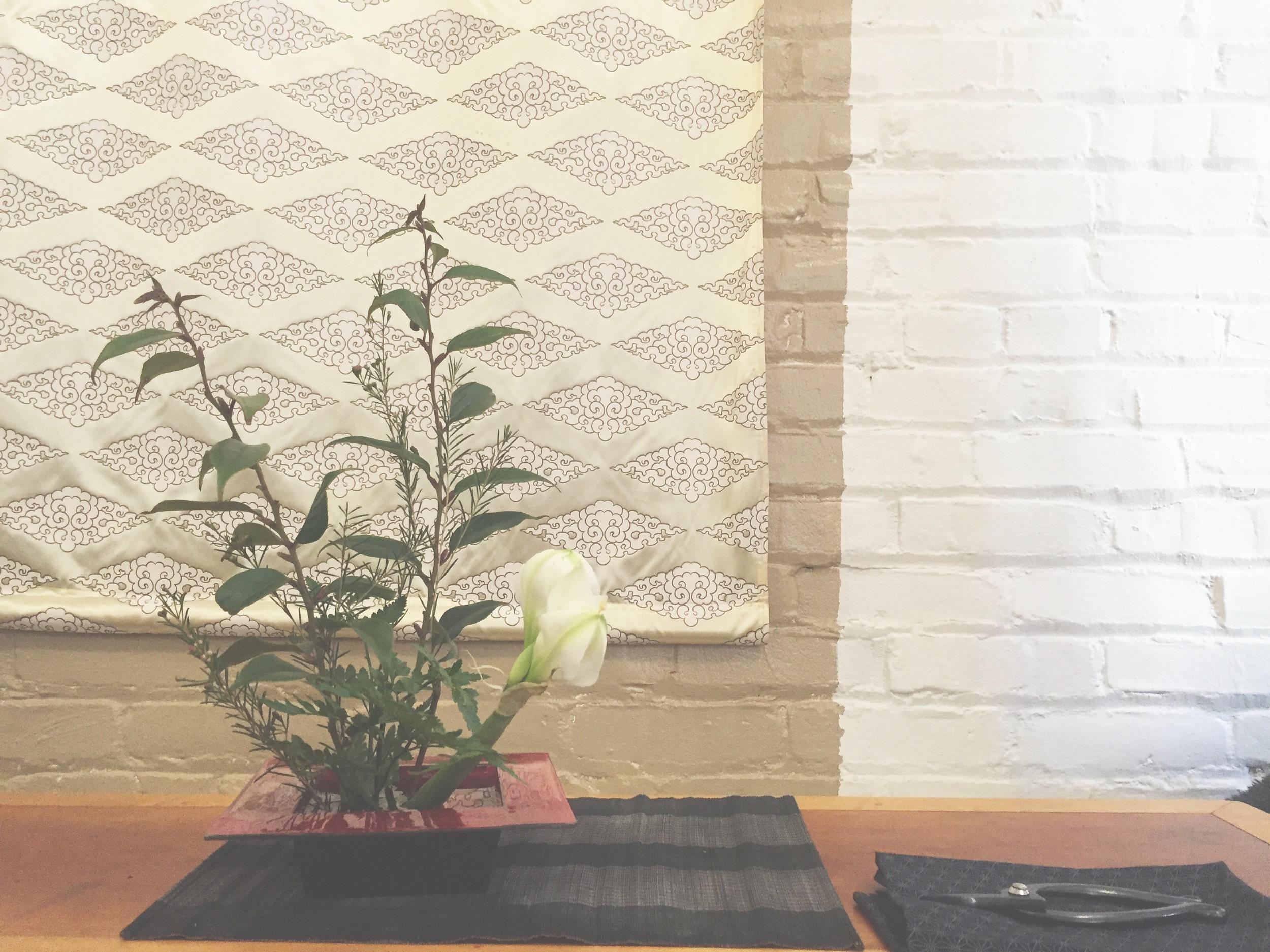 Arrangement today upright left variation one again! #amaryllis  #flowers  #kado  #ikebana  #shambhala
