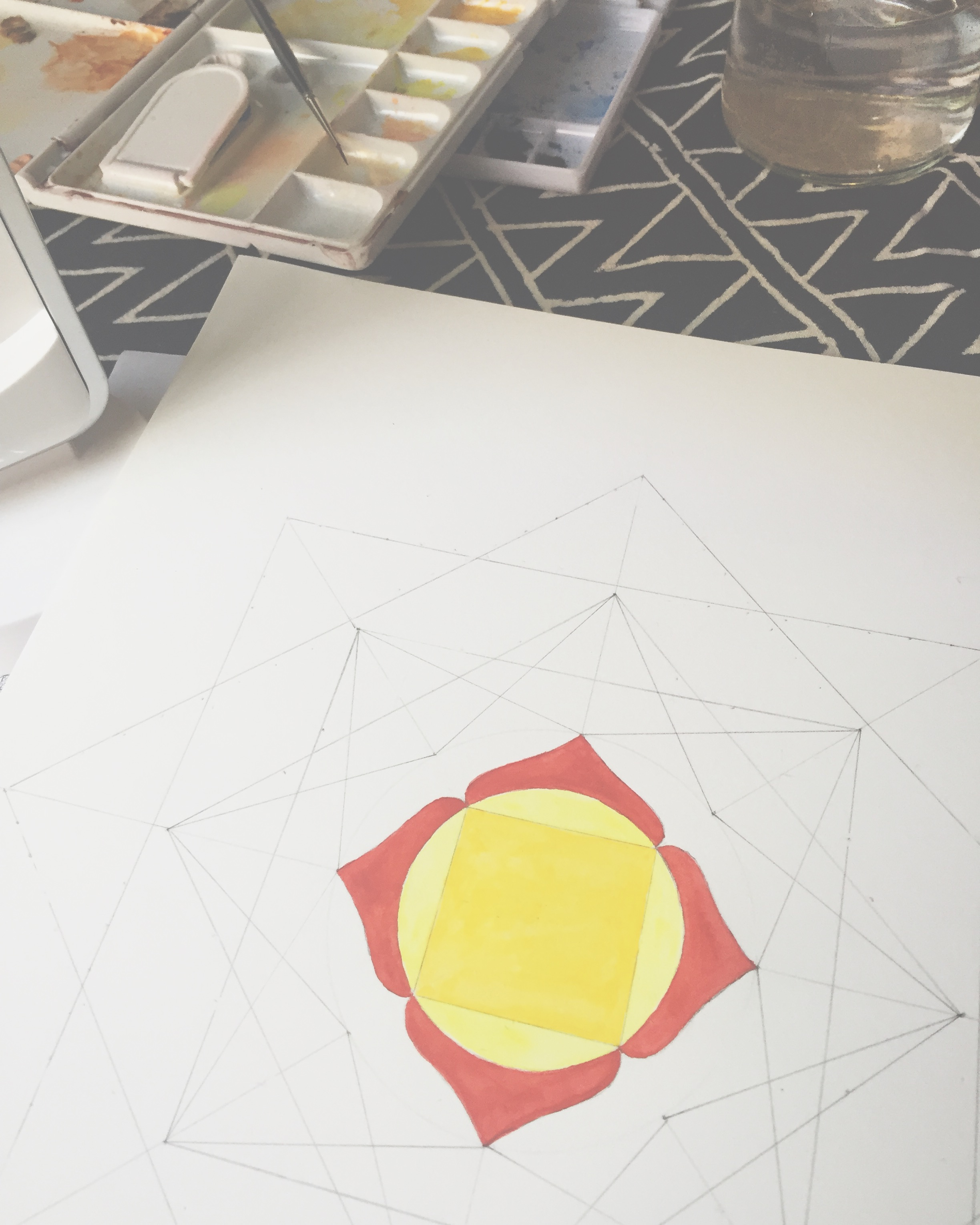 Painting first  #chakra   #mandala  with  @sandrinevanslee  and  @sacredma