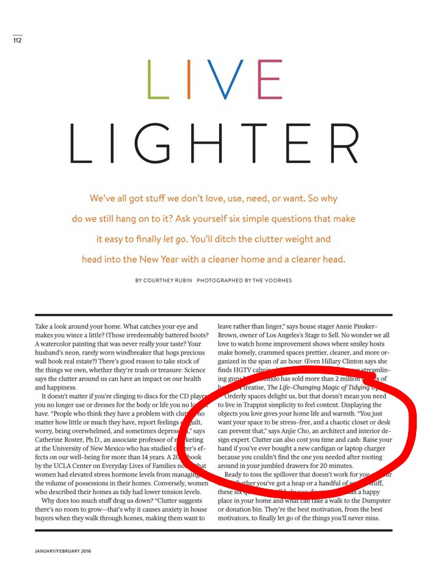 Read a great  #declutter  article! I'm Featured in  @dr_oz   #thegoodlife  magazine this month  #livelighter