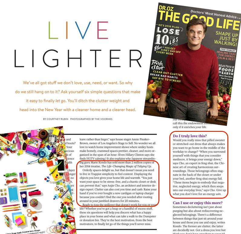 Proud to be featured alongside the inspirational  @mariekondo in this month's issue of  @drozthegoodlife  #livelighter  #declutter  #fengshui