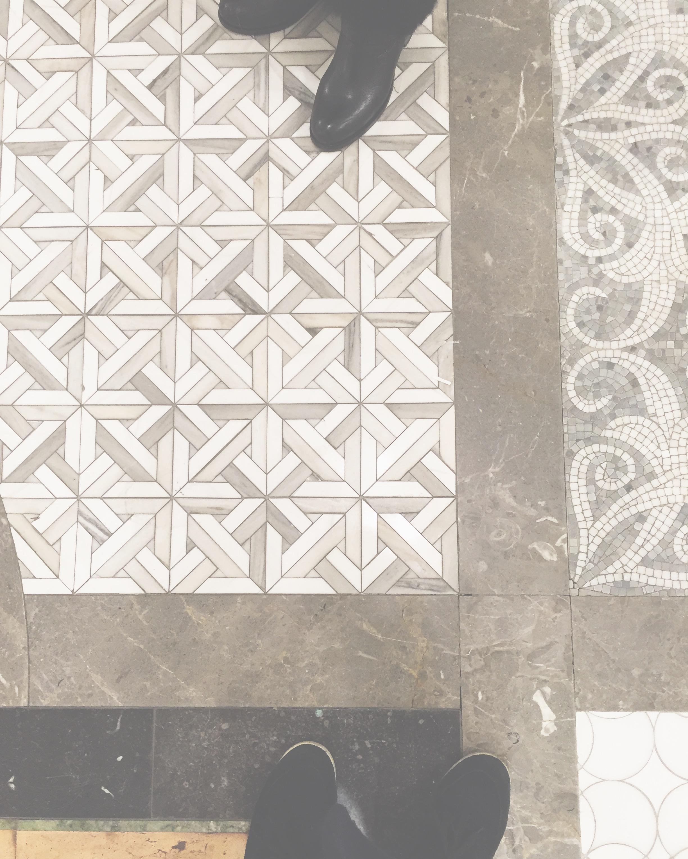 Pretty marble mosaic tiles from  #newravenna  #lovelyinteriors  #marblemosaics  #tileshopping