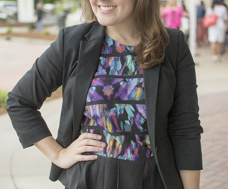 Top, Artelier Nicole Miller ( similar but pricey ). Blazer,  The Limited . Jeans,  Hudson . Shoes,  JustFab . Bag,  Alexander Wang .