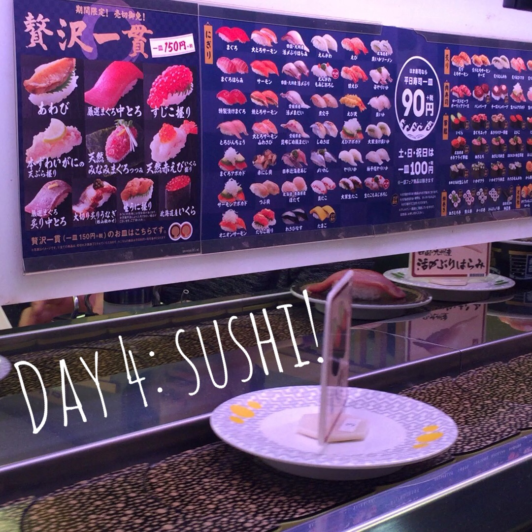 I love conveyor belt sushi. A lot of other stuff happened today, but that was the most important.