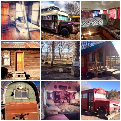 Some of the variety of converted hippie buses, authentic pioneer cabins, Mars Guesthouse, and facilities available at Mystic Hot Springs