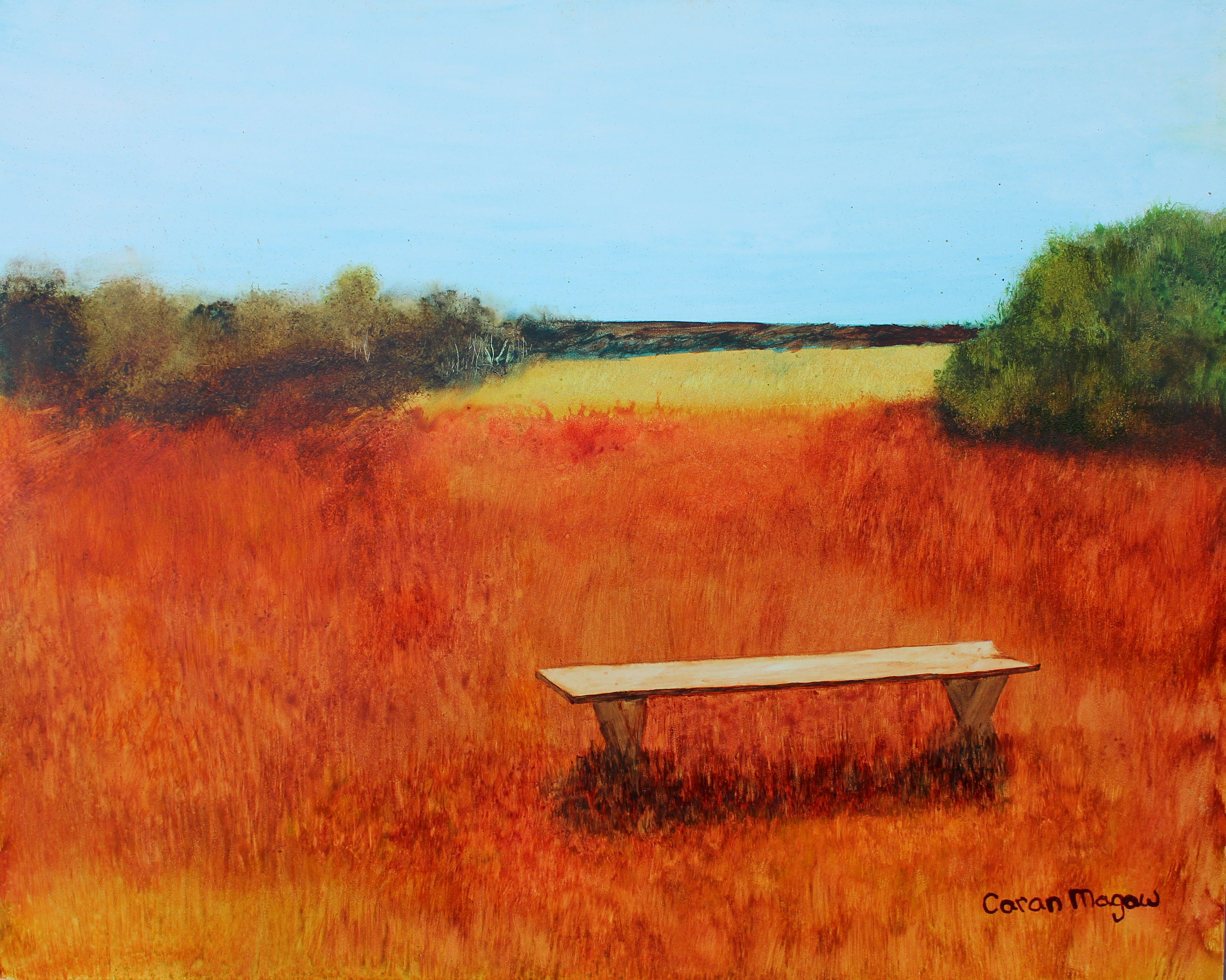"""""""The Bench"""" Watercolour on Gesso Board"""