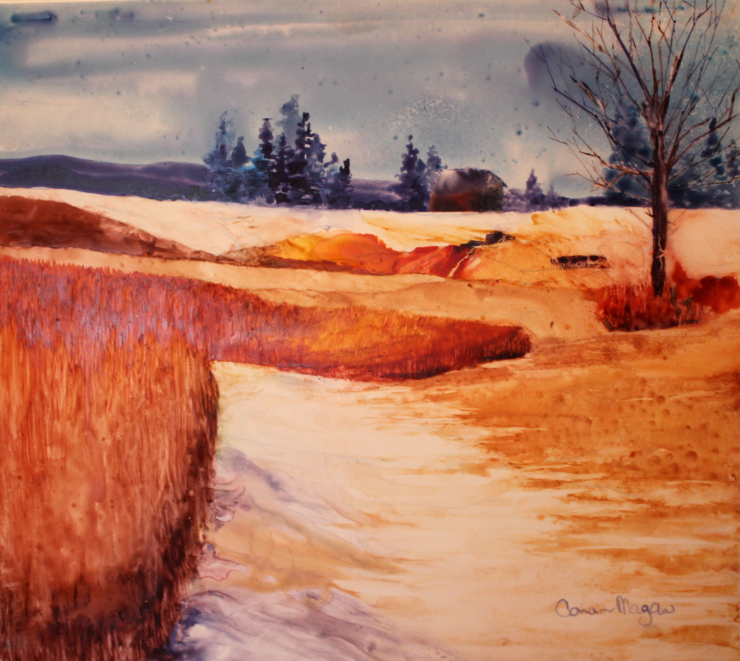 """Foothills Field"" on Yupo, Framed 19 x 12"" $400 A snowy path lead me toward a small farm house in the distance. Yes, I wondered who might live there!"