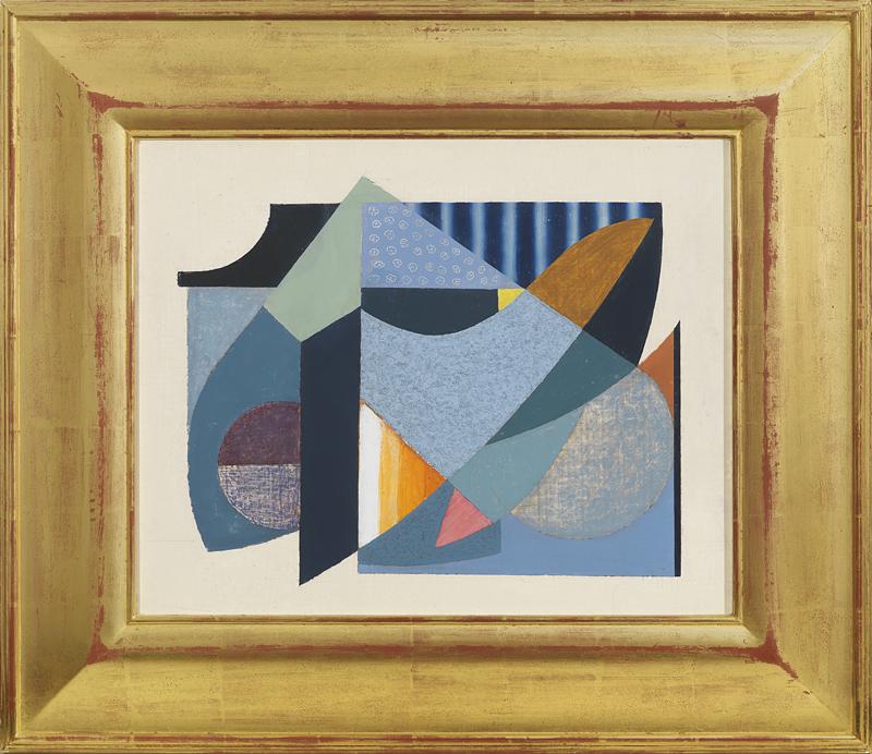 Onni Saari (Am. 1920-1992), Untitled, 1941, Oil and sand on board, 20 x 24 inches.  Gold leaf frame.