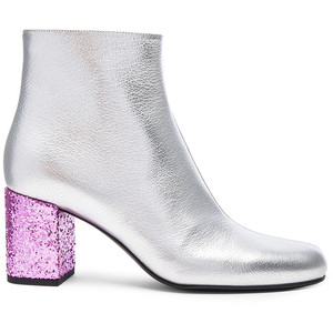 SAINT LAURENT METALLIC LEATHER & GLITTER BOOTS