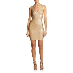 Herve Leger Metallic Bandage Dress