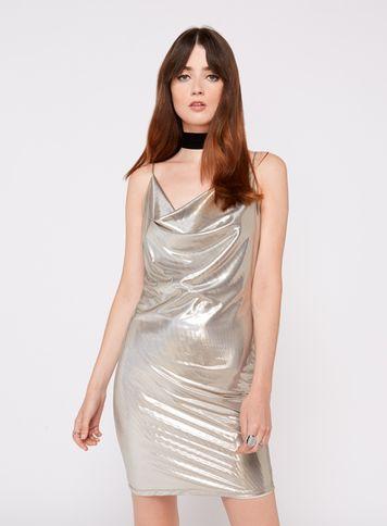 Silver Lame Cowl Neck Dress