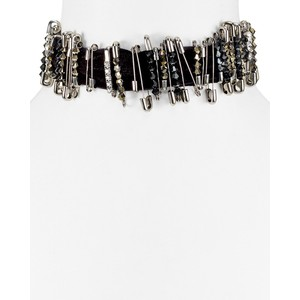 MARC JACOBS Safety Pin Velvet Choker Necklace,
