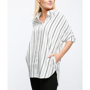 Lumière Cream & Black Stripe Dolman Shirt