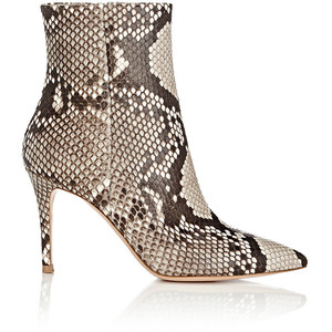 GIANVITO ROSSI Pointed-Toe Python Ankle Boots