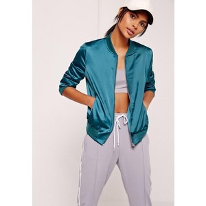 Missguided zip pocket satin bomber jacket blue