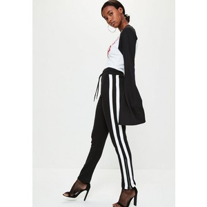 Missguided black side stripe zip side joggers