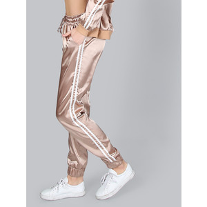 Make me chic Satin Stripe Joggers MOCHA GOLD