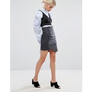 Zacro Mini Skirt With Step Hem In Pinstripe