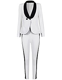 Hego Women's 2016 New Fashion White & Black Double Breasted Long Sleeve Pants Suits H1475