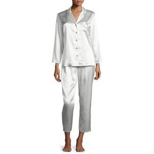 Neiman Marcus Satin Silk Two-Piece Pajama Set