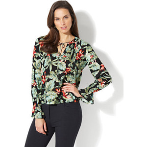 PLEATED PEASANT BLOUSE - FLORAL PRINT