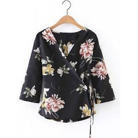 V Neckline Floral Print Tie Waist Wrap Top