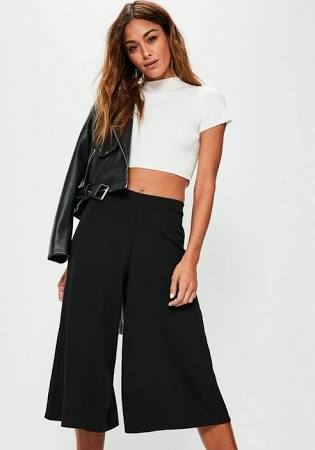 black crepe culottes
