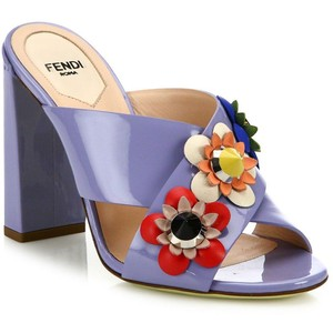 Fendi Flowerland Embellished Patent Leather Mules