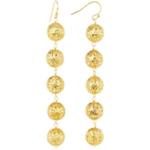 Taolei Gold Ball Long Drop Earrings