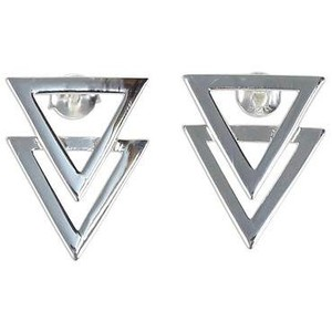 Shiny 925 Sterling Silver Double Triangle Earrings