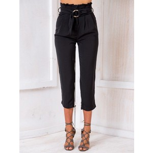 Black High Waist Ring Belt Crop Cigarette Pants