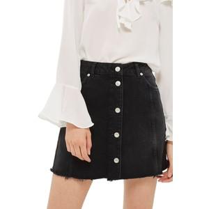 Button Front Denim Miniskirt