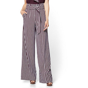 7TH AVENUE PANT - PAPERBAG WAIST PALAZZO - STRIPE
