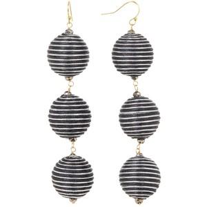 Taolei Black & Silver Striped Ball Drop Earrings